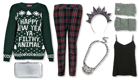 ee0967c967b4 New Years Eve Outfit Ideas casual outfit boohoo happy new year jumper  tartan crown and glory
