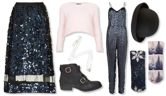 New Years Eve Outfit Ideas sequin skirt fluffy jumper sequin jumpsuit party outfits asos