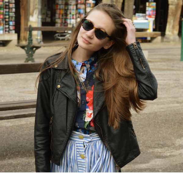 london retro give-away nancy glasses ark faux leather jacket