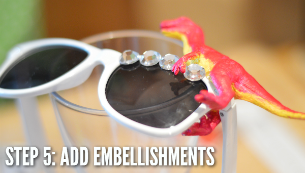 diy embellished dinosaur sunglasses spangled