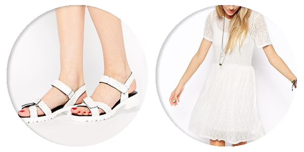 asos saved items velcro sandals white dress