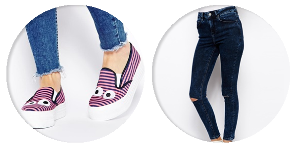 asos saved items stripey platforms ripped jeans