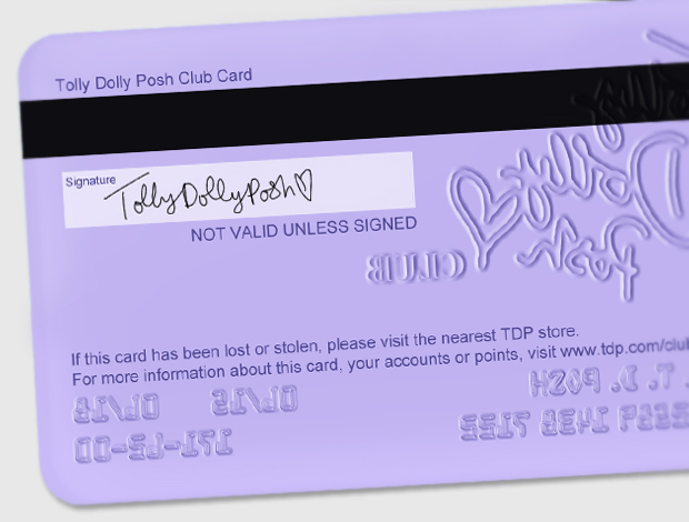 Tolly Dolly Posh Digital Club Card Mock-up Photoshop