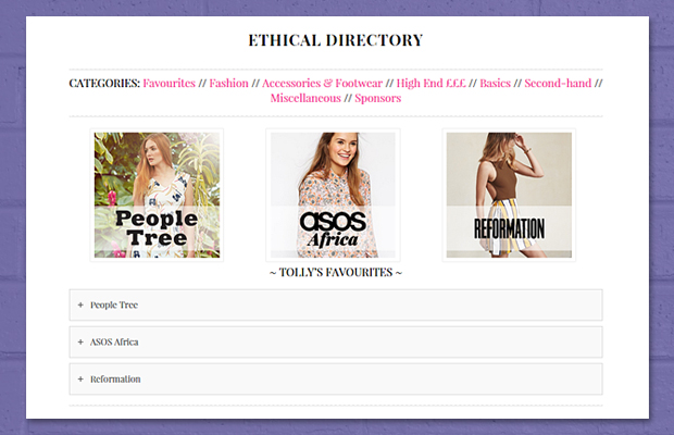 Ethical Directory For Fashion Brands - ASOS Africa, People Tree, Reformation