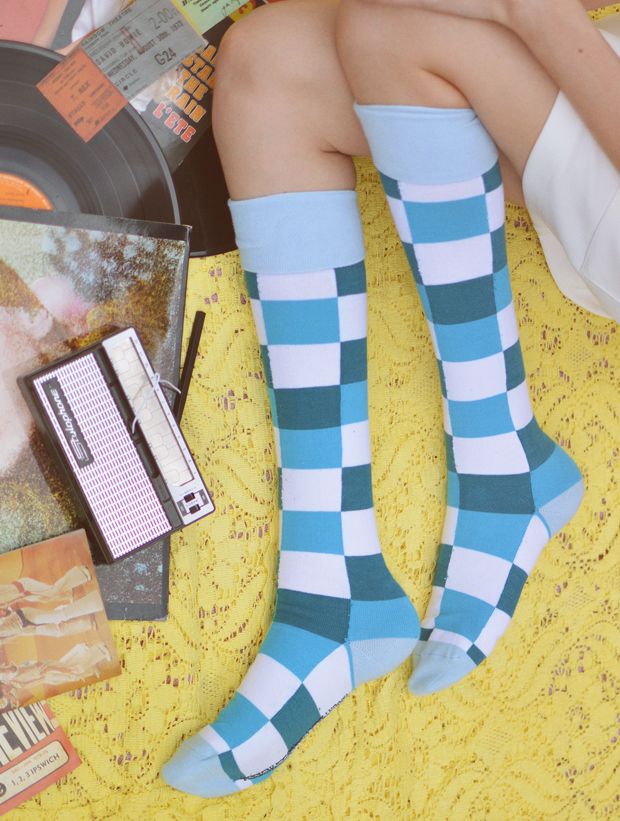 Mooi en Lief by Tolly Dolly Posh Blue Bootin Knee High Fashion Socks