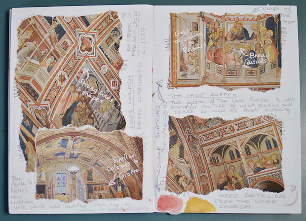 Scrap Social - How To Make A Fashion Design Research Scrapbook - Assisi Renaissance Art