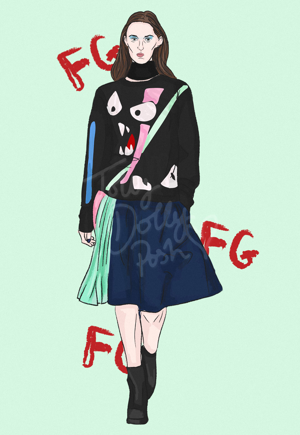 lfw autumn winter 2017 fashion collection illustrations - fyodor golan
