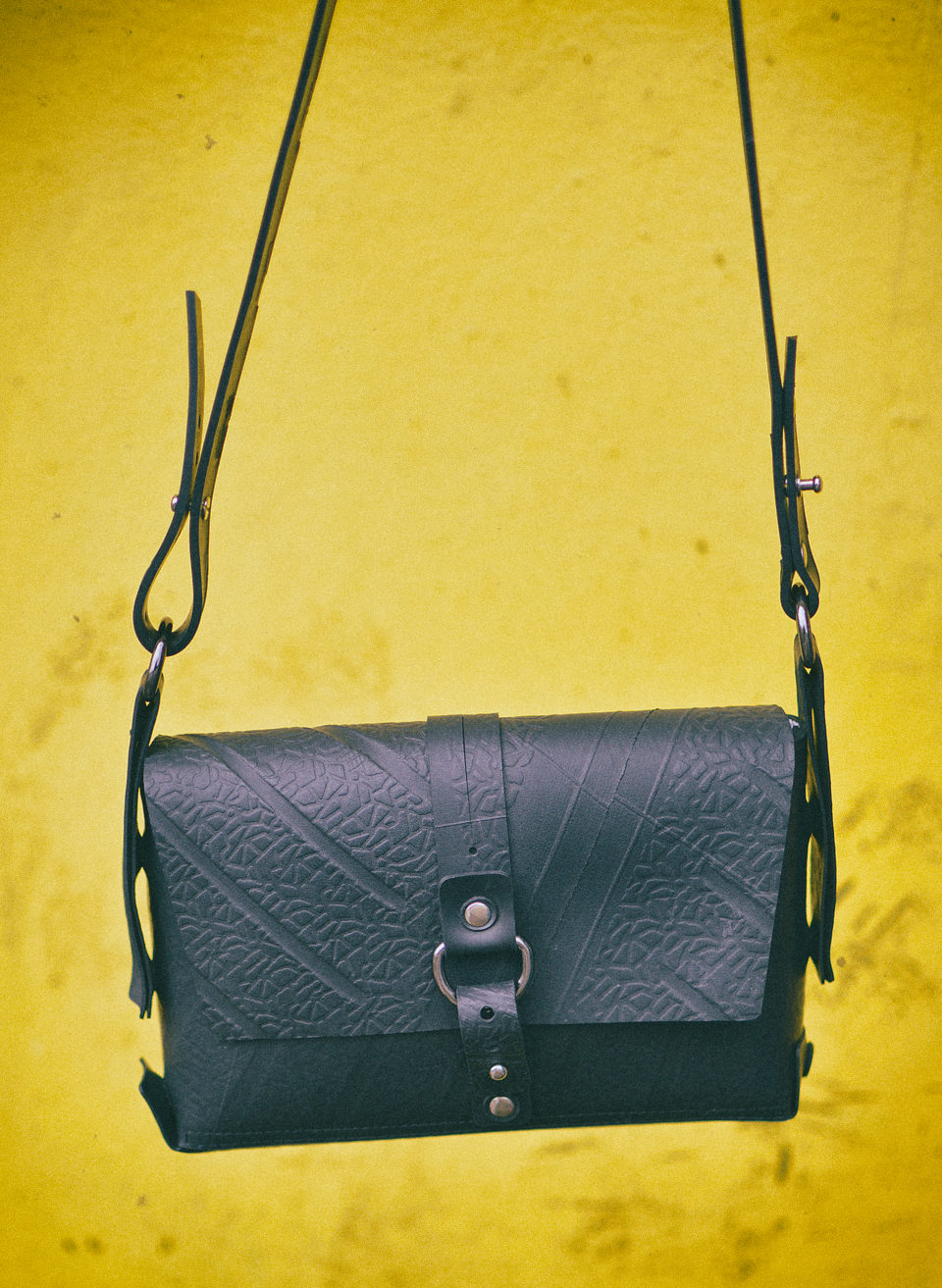 sustainable vegan leather alternatives - paguro upcycle rubber handbag
