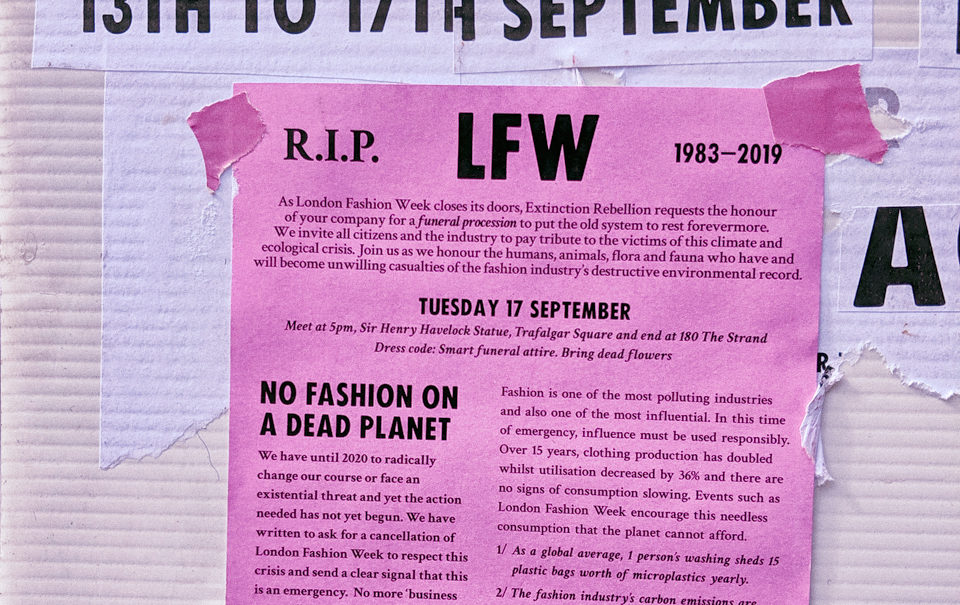 Extinction Rebellion at London Fashion Week SS20